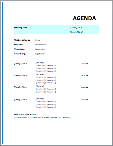 Formal Meeting Agenda Template Free Downloads
