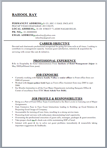 currently working resume format