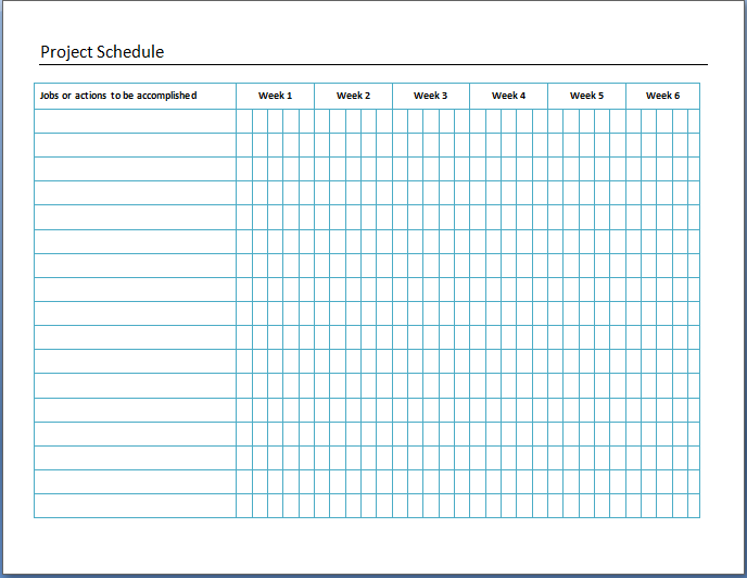 Project Schedule Template  Example Project Schedule