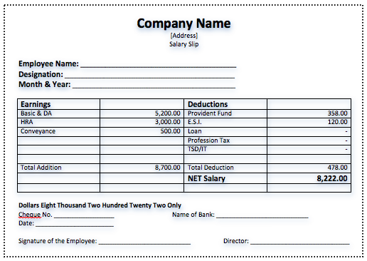 Salary Slip Template  Free Wage Slips Template