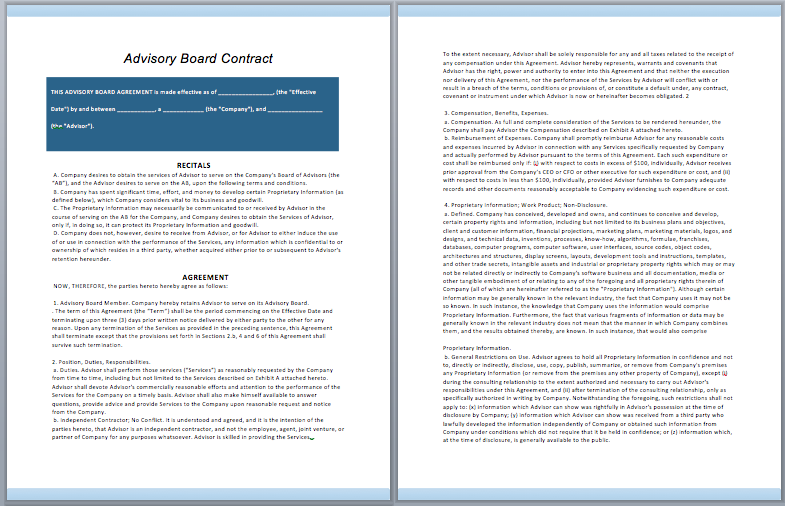 Advisory Board Contract Template