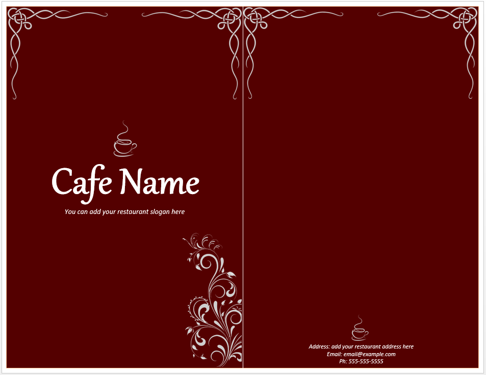 Cafe Menu Template  Microsoft Word Restaurant Menu Template