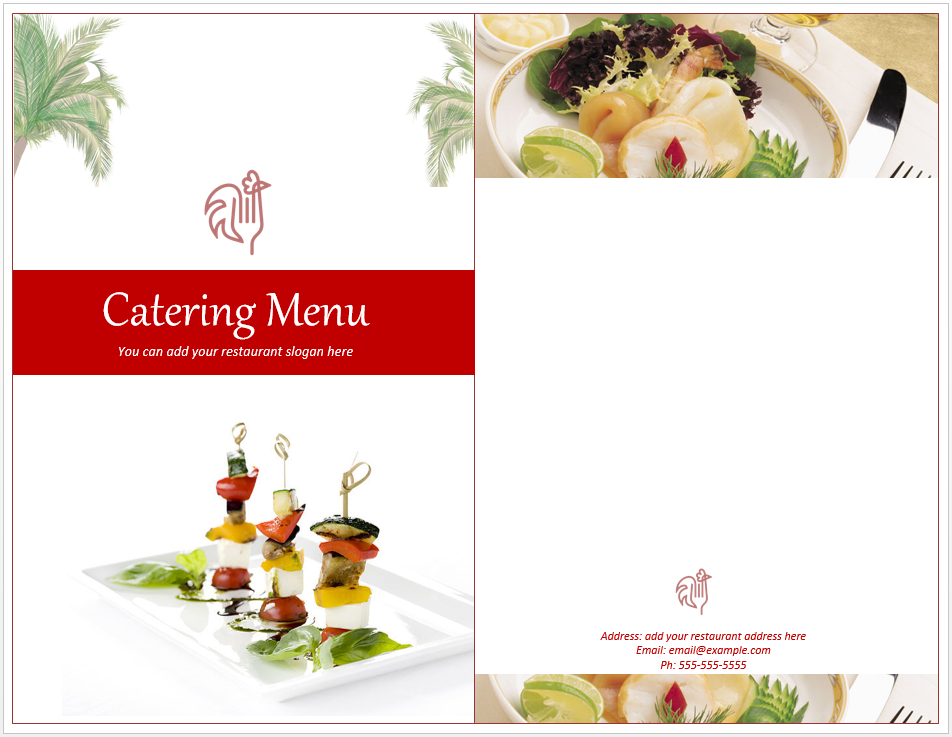 Venue catering menu template free template downloads for Catering business cards templates free download