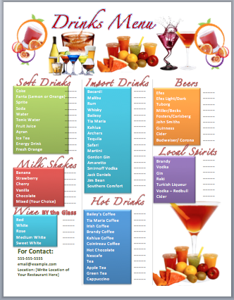 Drinks bar menu template free template downloads for Html menu bar templates free download