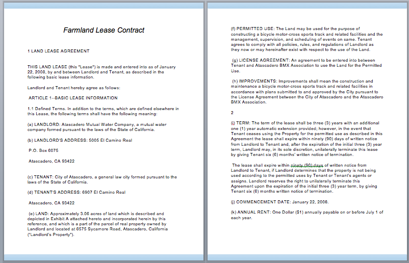 Farmland Lease Contract  Lease Contract Format