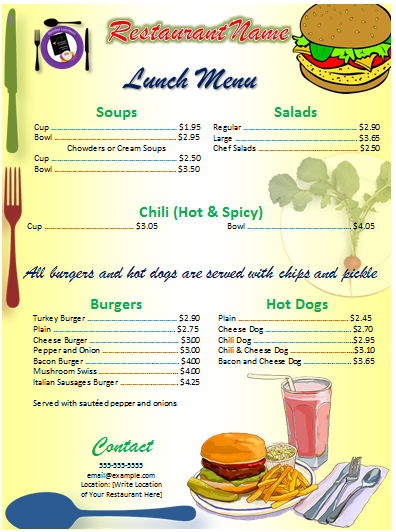 Office menu template free template downloads for Free download menu templates