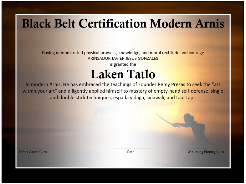 martial arts event winner certificate template � free