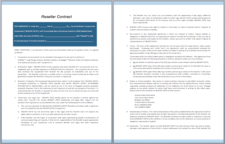 Reseller Contract Template – Free Template Downloads