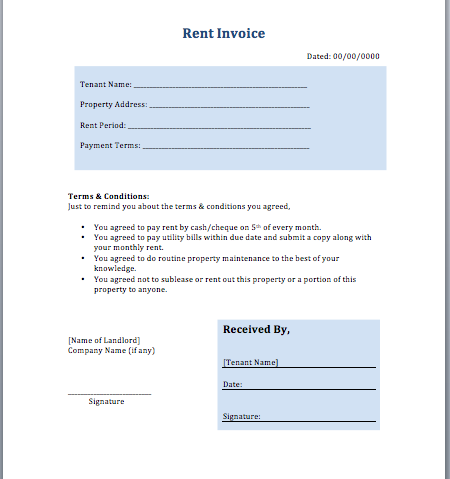 Rent invoice template layout format guidelines free for Rental property income statement template