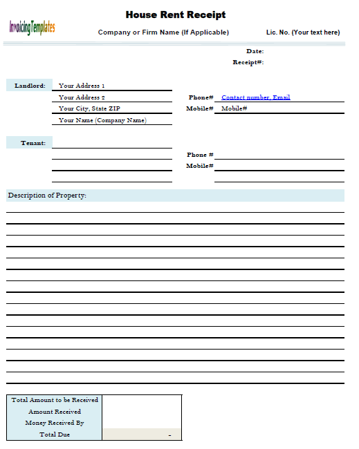 Free Template Downloads  Cash Rent Receipt