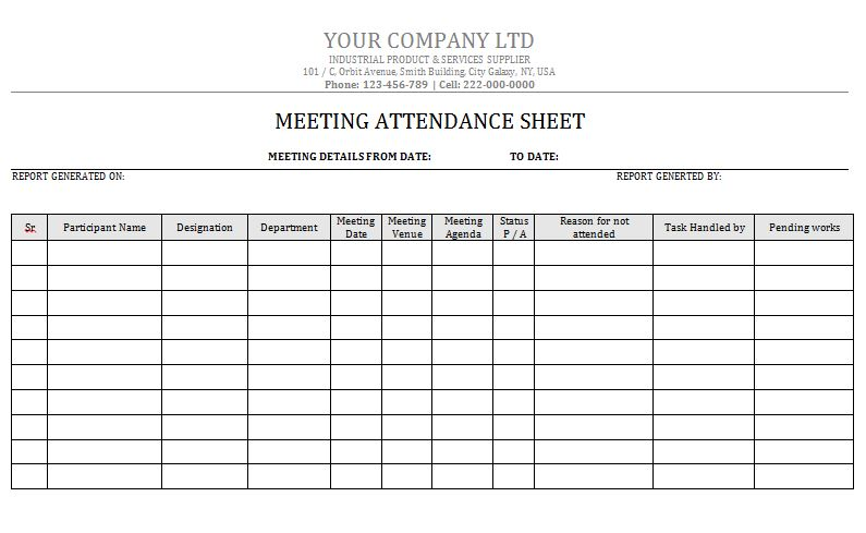 38 Free Printable Attendance Sheet Templates – Free Template Downloads