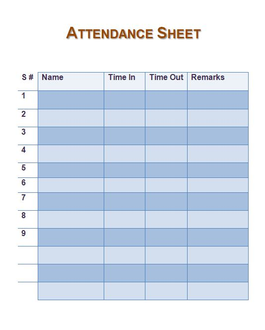 graphic about Free Printable Attendance Sheets called Season And Attendance Sheet Template