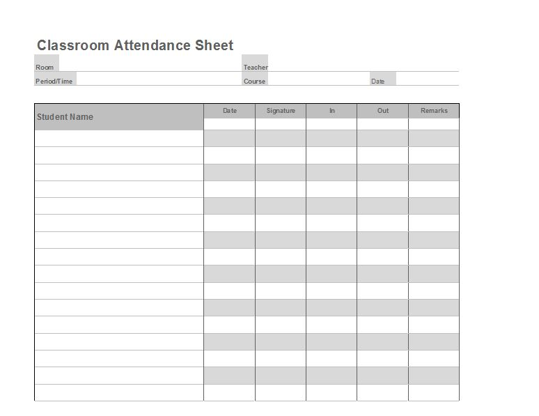 38 free printable attendance sheet templates free template downloads. Black Bedroom Furniture Sets. Home Design Ideas