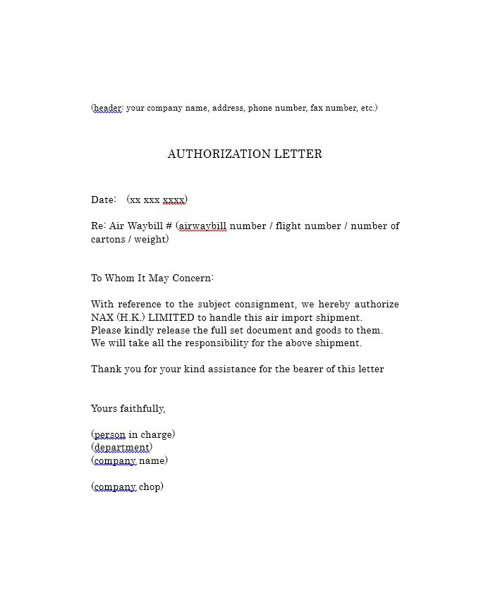 Free Authorization Letter Samples  Templates  Free Template