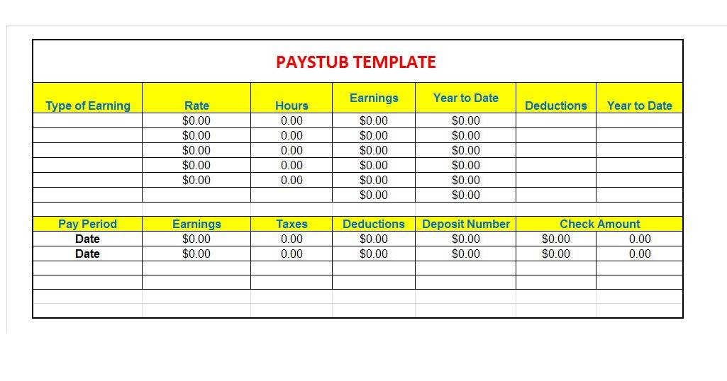 Great Pay Slip Paycheck Stub Templates Free Template Downloads - Free pay stub forms