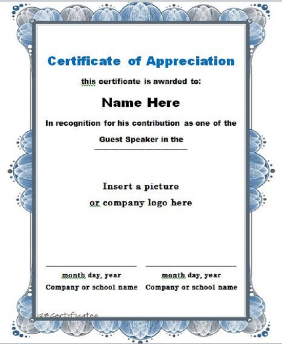 31 free certificate of appreciation templates and letters free certificate of appreciation 02 yelopaper Images