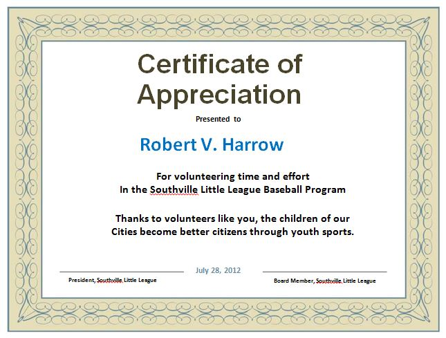 certificate of appreciation volunteer work