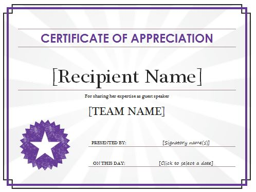 31 Free Certificate of Appreciation Templates and Letters – Free ...