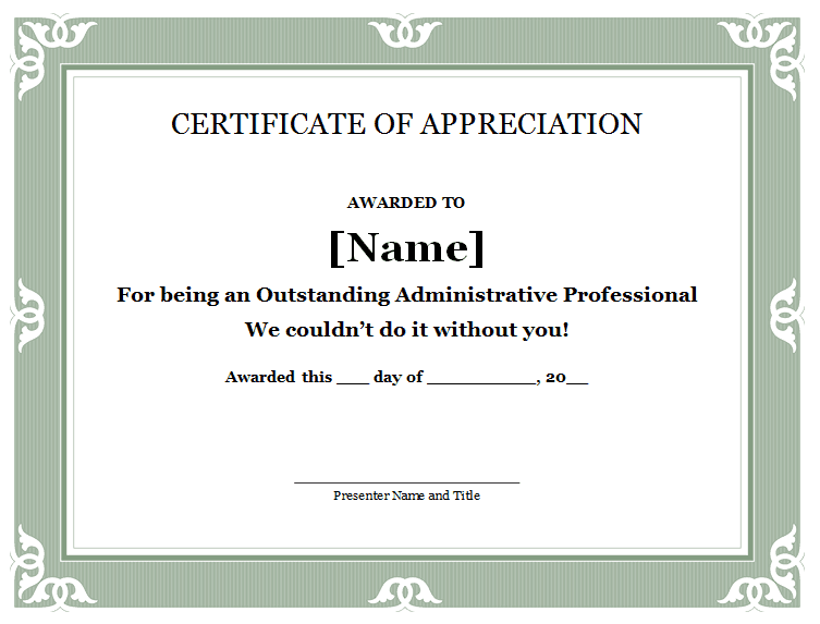 31 free certificate of appreciation templates and letters for Certificate of appreciation template free
