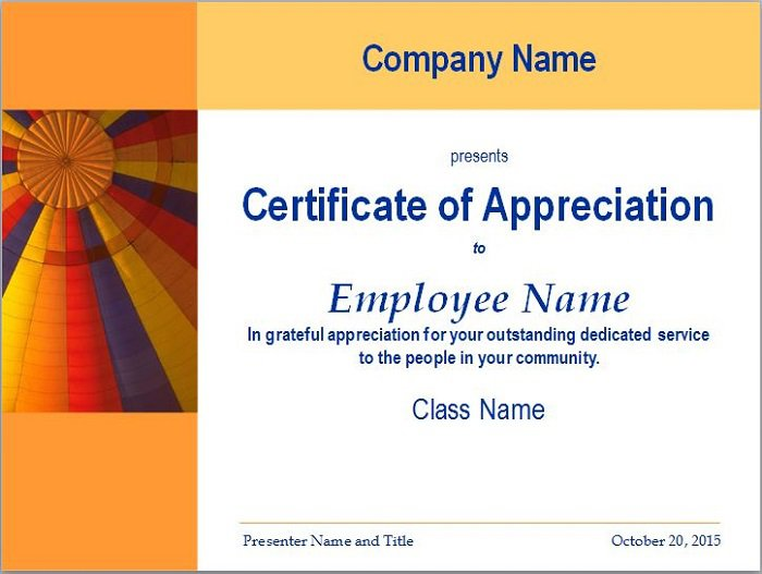 31 free certificate of appreciation templates and letters for Recognition of service certificate template