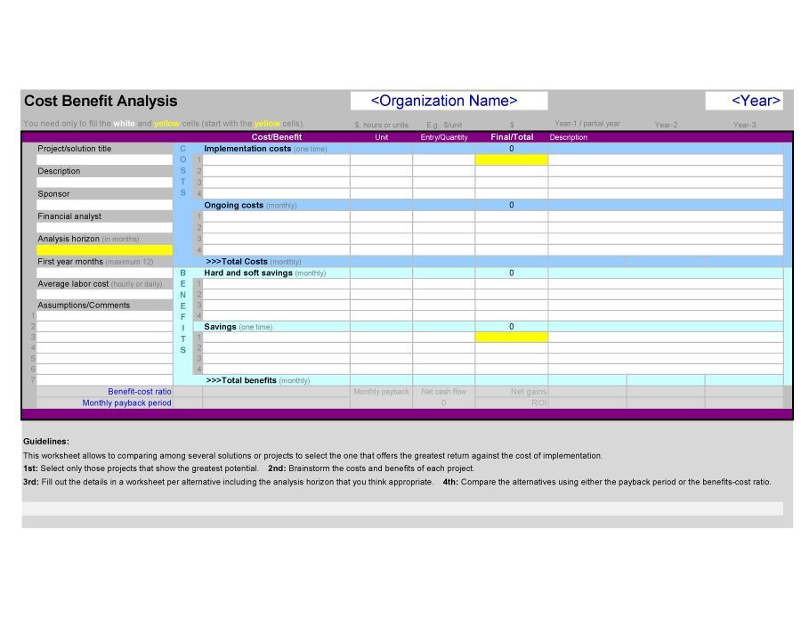 Free Cost Benefit Analysis Templates  Examples  Free Template