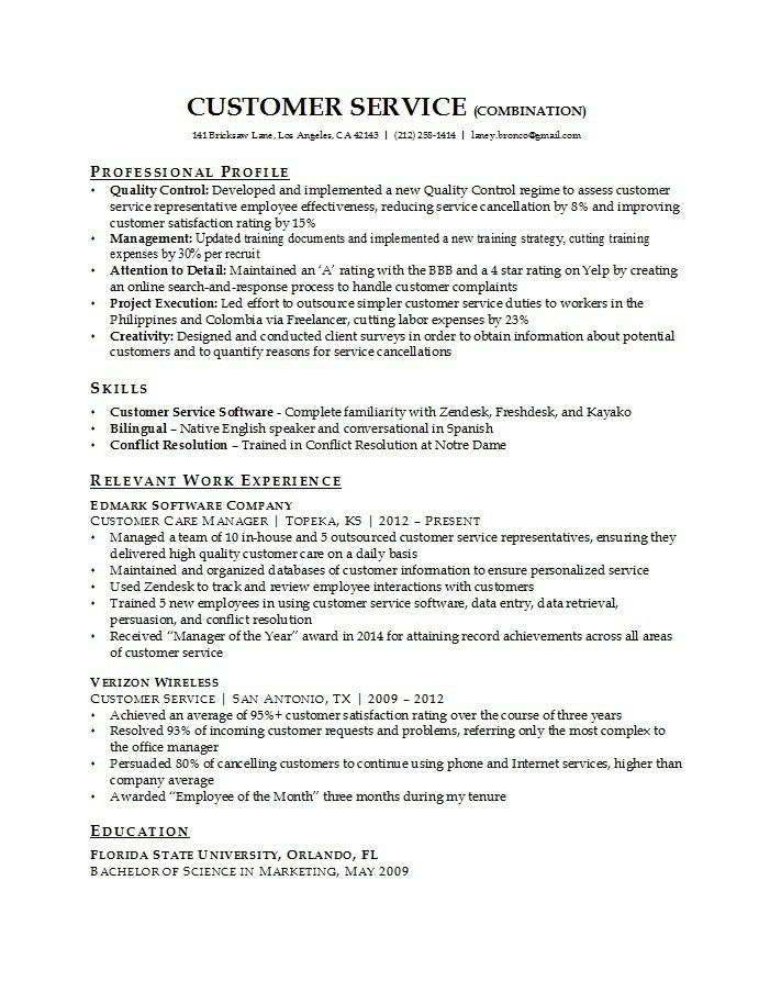 Free Customer Service Resume Examples  Free Template Downloads
