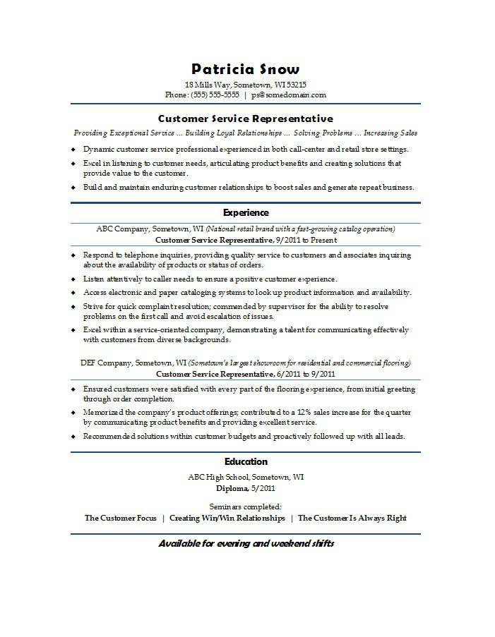 customer service resume template 02 - Free Customer Service Resume Templates