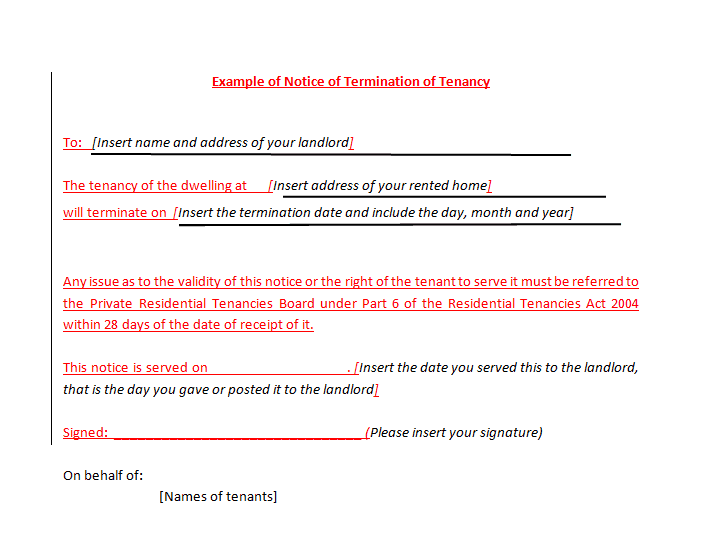 example_of_notice_of_termination_of_tenancy - Landlord Lease Termination Letter Sample