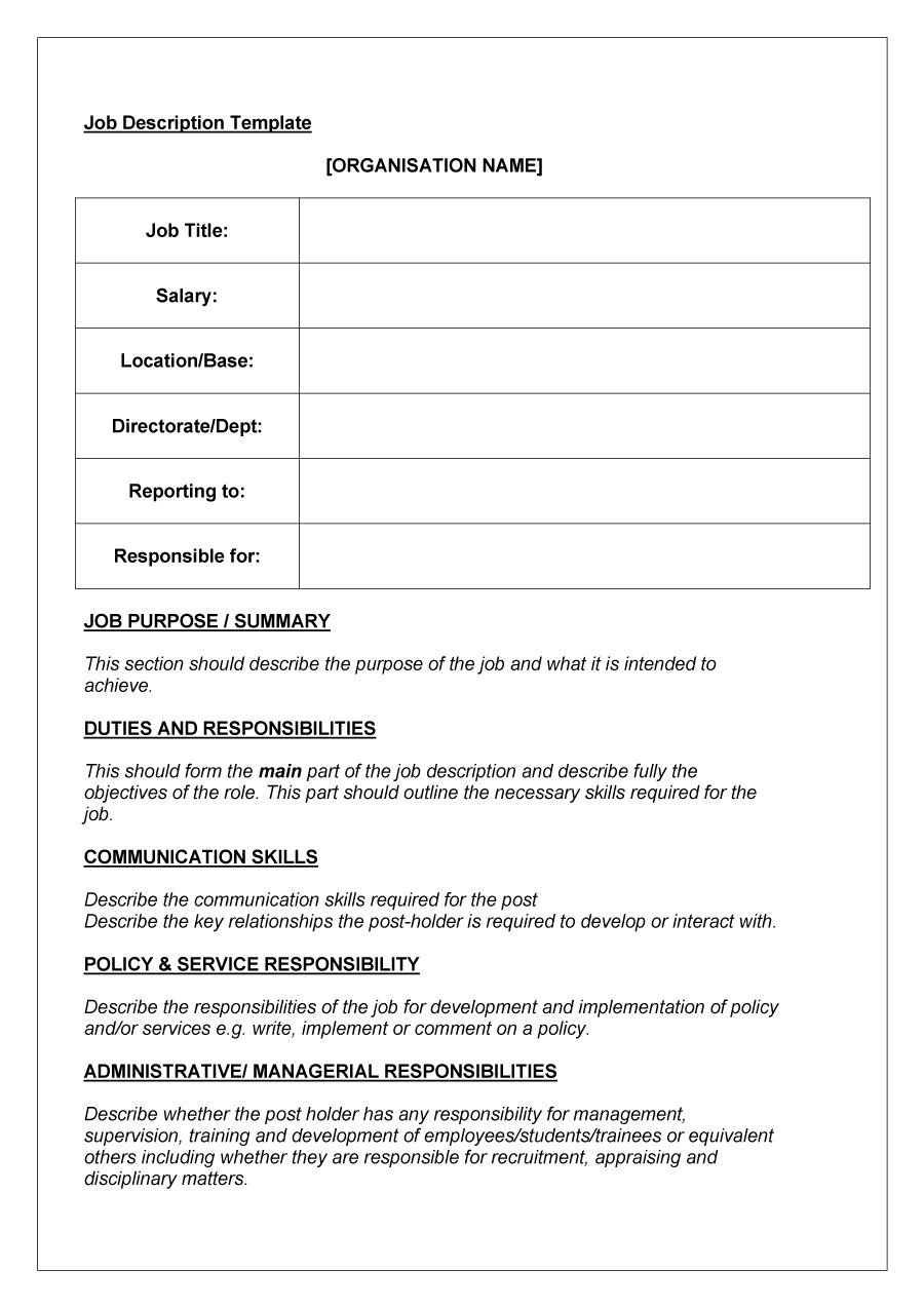 49 free job description templates examples free for Samples of job descriptions templates