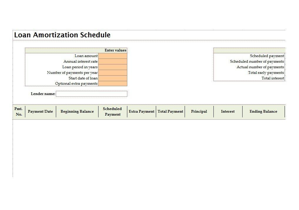 Tables To Calculate Loan Amortization Schedule Excel  Free