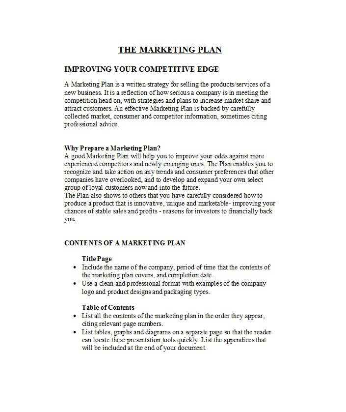 33 Free Professional Marketing Plan Templates – Free Template