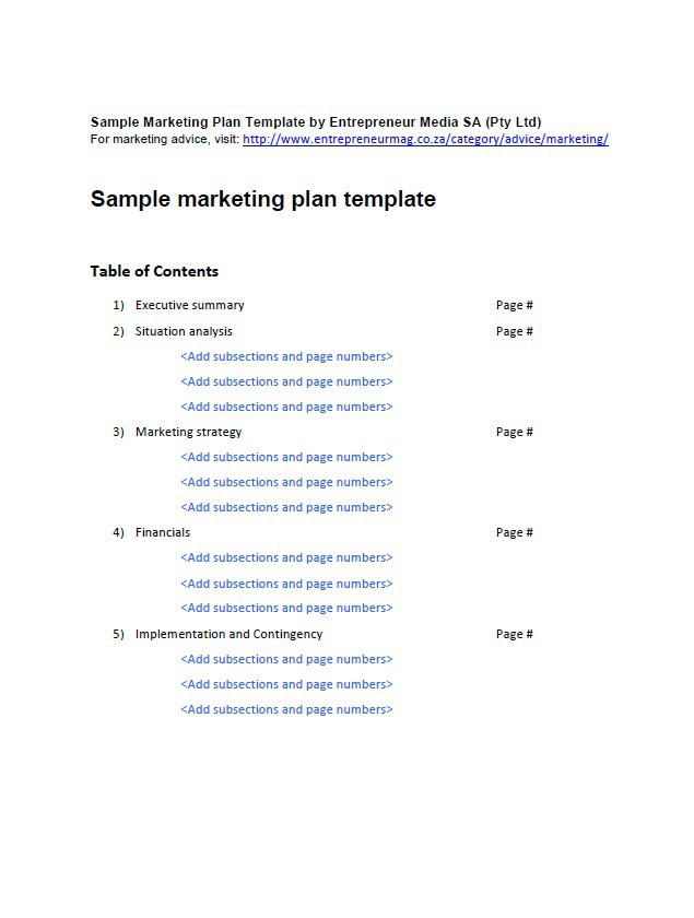 33 free professional marketing plan templates free for Strategic marketing plan template free download