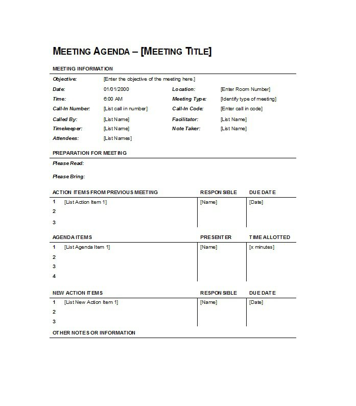 51 effective meeting agenda templates free template downloads. Black Bedroom Furniture Sets. Home Design Ideas