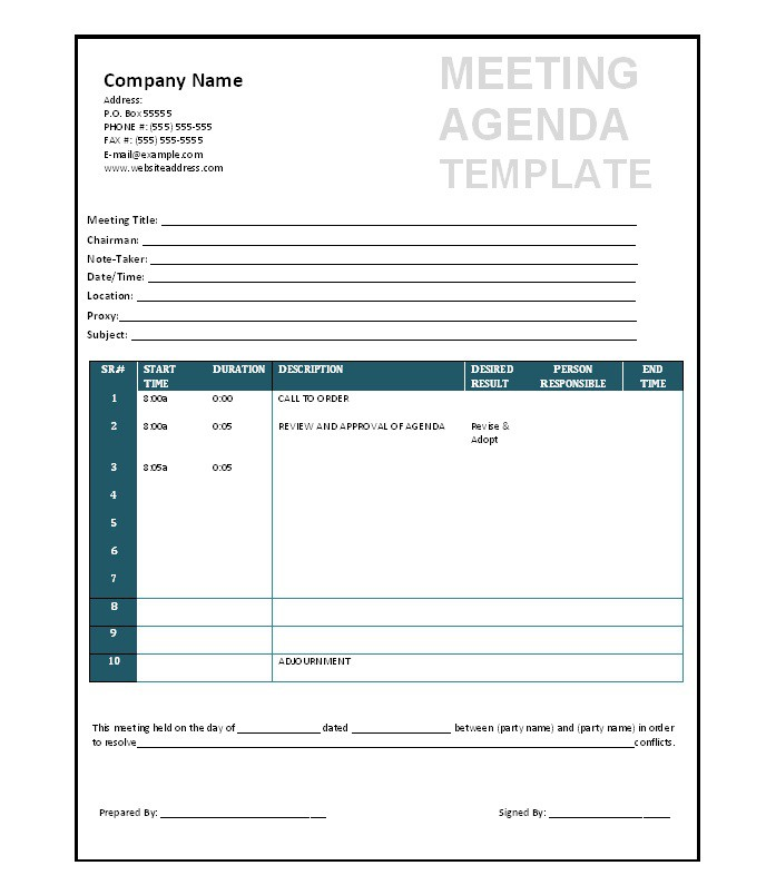 51 effective meeting agenda templates free template for Free minutes template for meetings