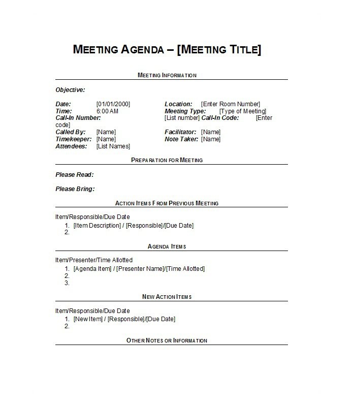Agenda Format For Meetings. Meeting Agenda Templates And Examples