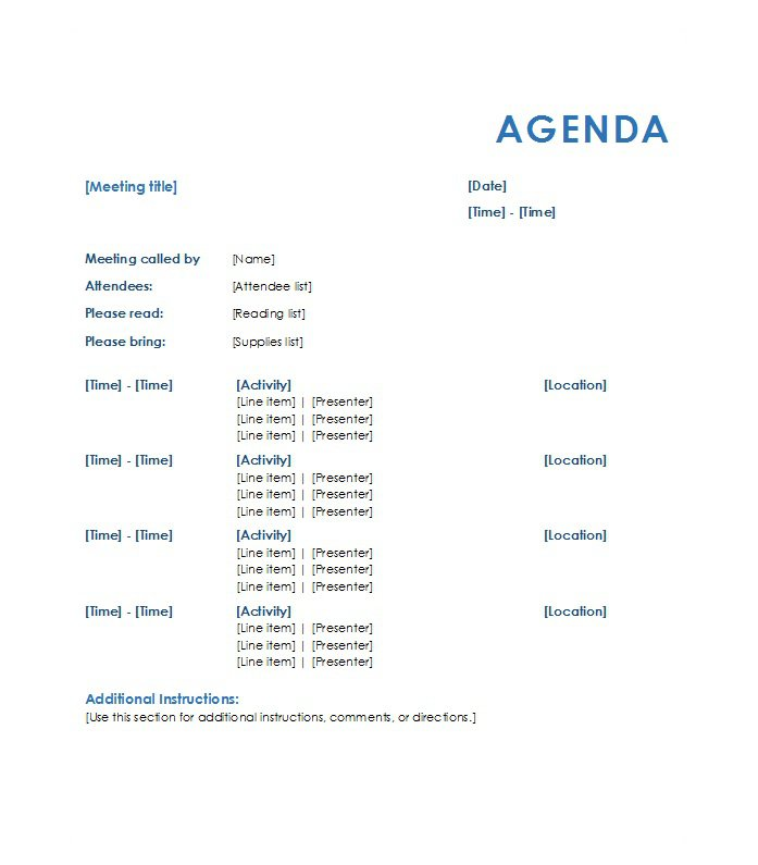 Template Agenda For Meeting. Sample Project Manager Team Meeting