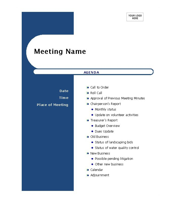 Doc529684 Template Agenda Free Meeting Agenda Template 87 – Free Meeting Agenda Templates