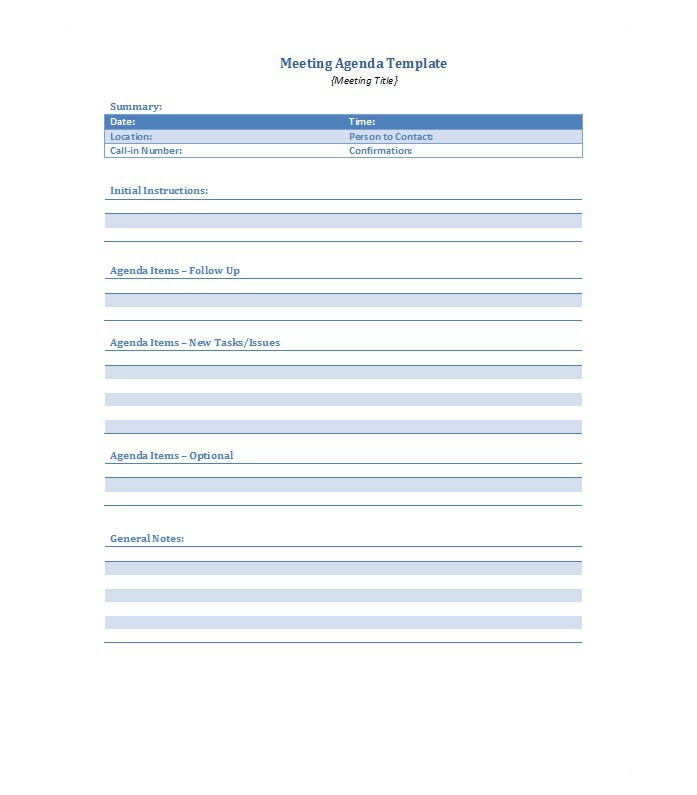 Meeting Agenda Template 33  Agenda For Meeting Template