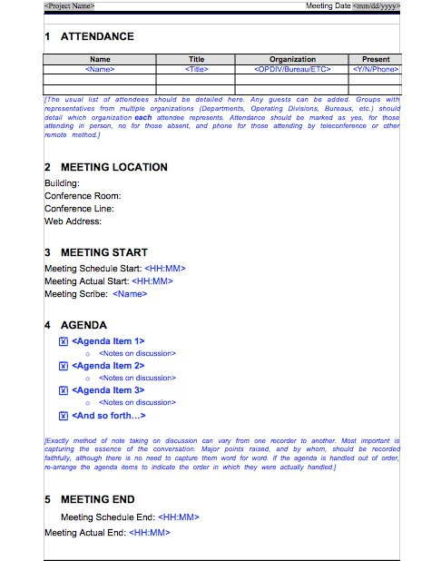 Meeting Minutes Template 07  Meeting Schedule Template