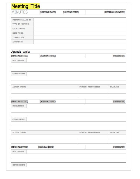 20 handy meeting minutes notes templates free template for Free minutes template for meetings
