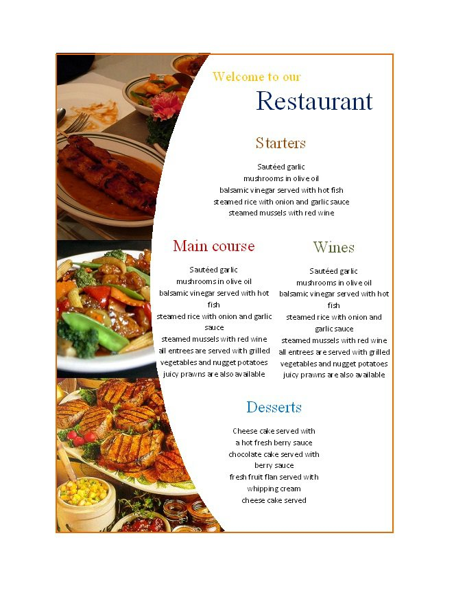 31 free restaurant menu templates designs free. Black Bedroom Furniture Sets. Home Design Ideas