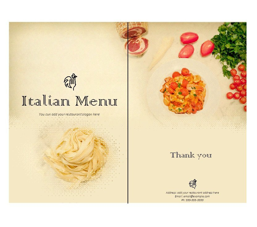 design a menu template