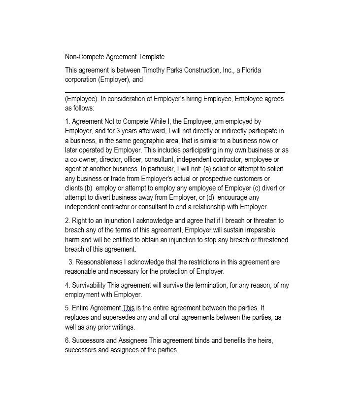 39 Ready-To-Use Non-Compete Agreement Templates – Free Template