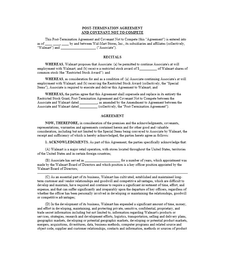Non Compete Agreement Template 08  Agreement Templates