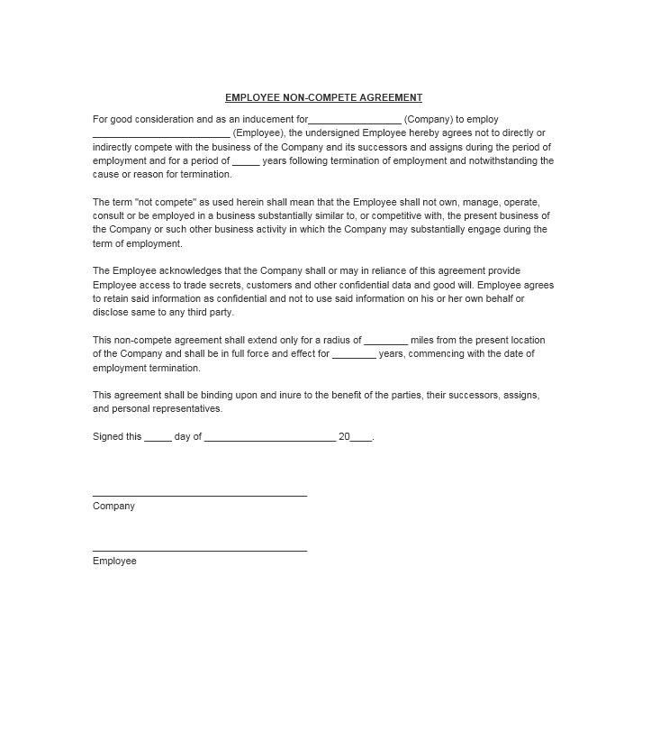 39 ready to use non compete agreement templates free for Employee vehicle use agreement template