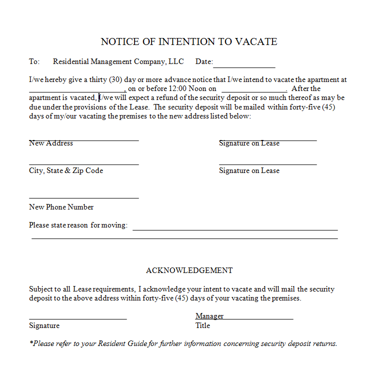 notice to vacate letter to landlord templates
