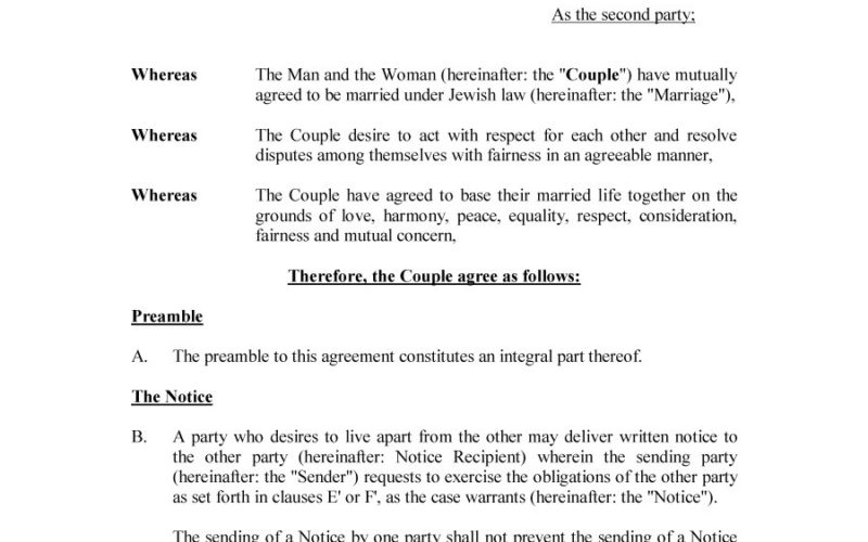 Prenuptial Agreement Form Property Settlement Agreement Template