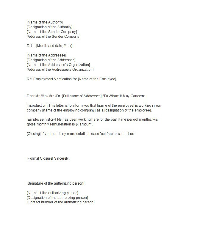 Proof Of Employment Letter 09  Employment Verification Letter Template Microsoft