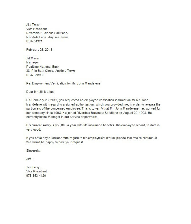 proof of employment letter 10 - Verification Of Employment Sample Letter