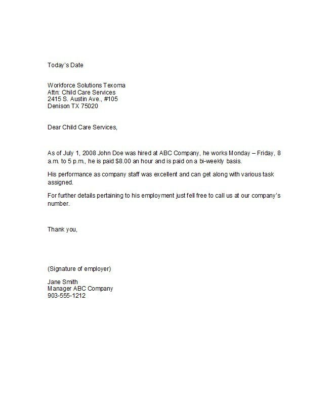 Proof-of-employment-letter-18 Community Service Letter Of Recommendation Template on community service thank you letter template, community service resume template, community service application template, community service certificates template,
